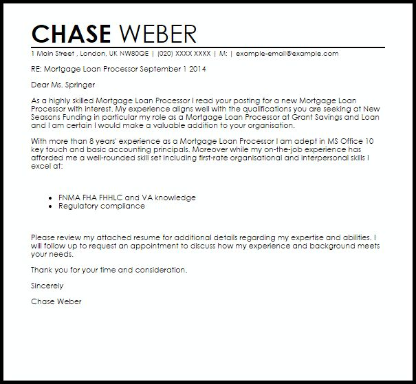 Mortgage Loan Processor Cover Letter Sample | LiveCareer