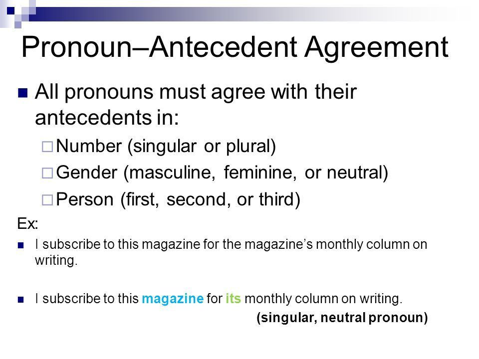 Pronoun-Antecedent Agreement. Pronouns A pronoun takes the place ...