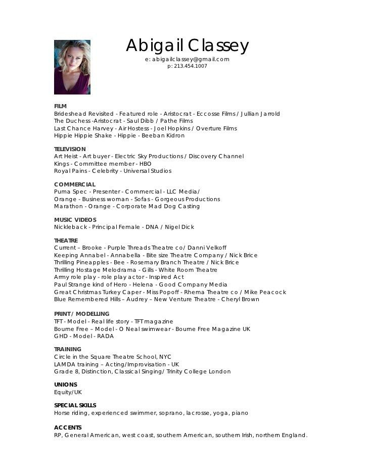 beginner acting resume samples template acting resume beginner ...