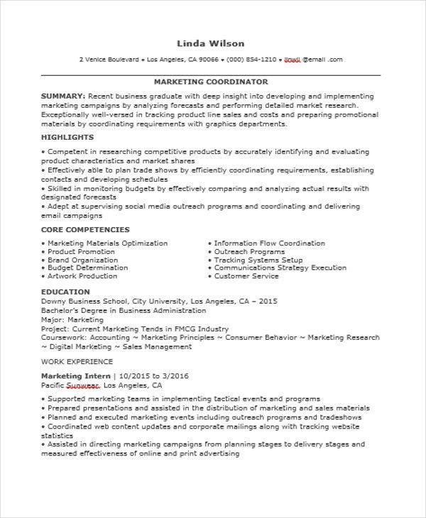 marketing coordinator resume sample marketing coordinator resume