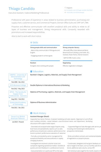 Assistant Manager Resume samples - VisualCV resume samples database