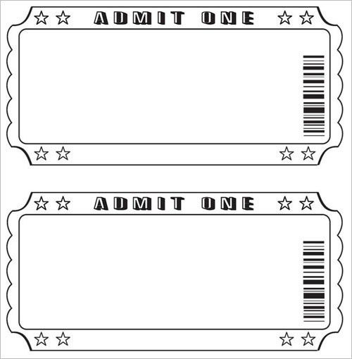Blank Ticket Template. Event Tickets Perforated Paper Shop Blank ...