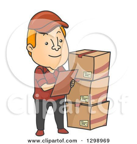 Clipart of a Cartoon Red Haired White Male Inventory Checker with ...