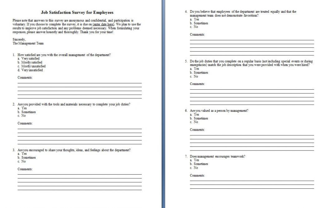 Customer Satisfaction Survey Questionnaire Word Template As1 ~ Ptasso