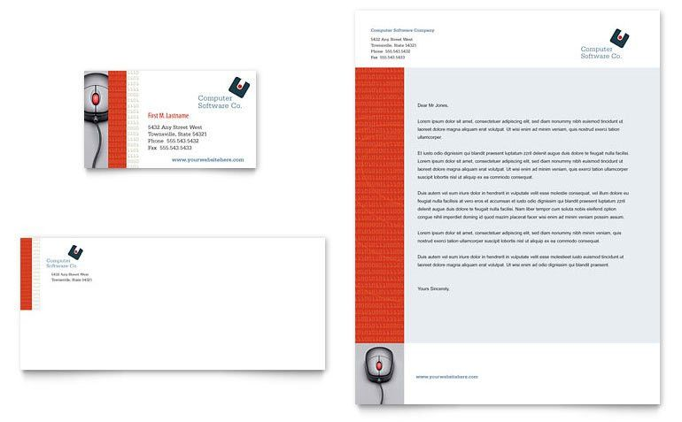 Computer Software Company Business Card & Letterhead Template ...