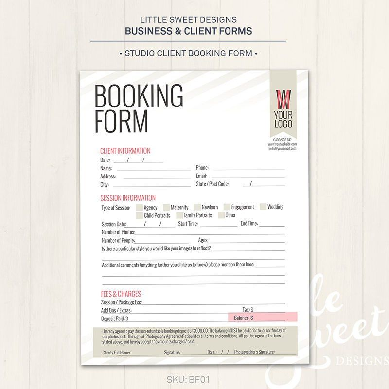 Photography Studio / Client Booking Form Photoshop Template