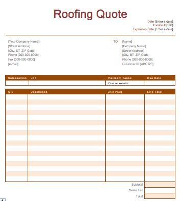 Roofing Quotation Template | Free Quotation Templates