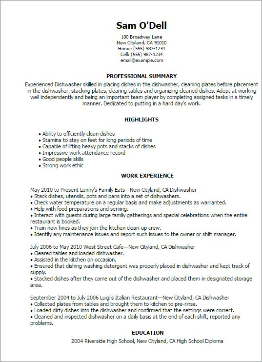 Sample Resume For Dishwasher] Dishwasher Resume Template Latest ...