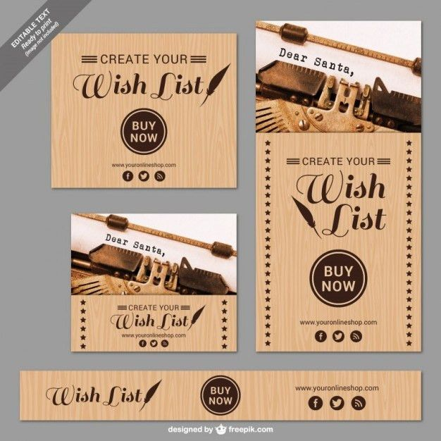 Christmas wish list banners Vector | Free Download