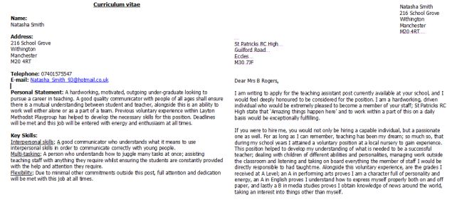 cv teaching assistant learning support assistant cover letter ...