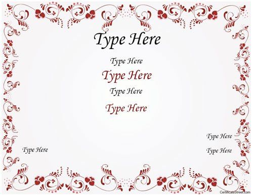 Blank Certificate - Wedding Certificate with Red Flowered Border ...