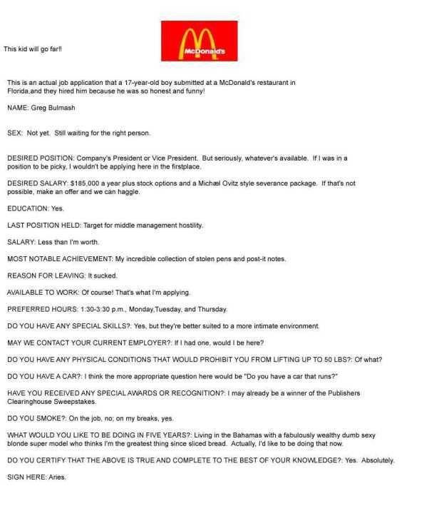 McDonalds Resume Sample mcdonalds actual job application that 17 ...