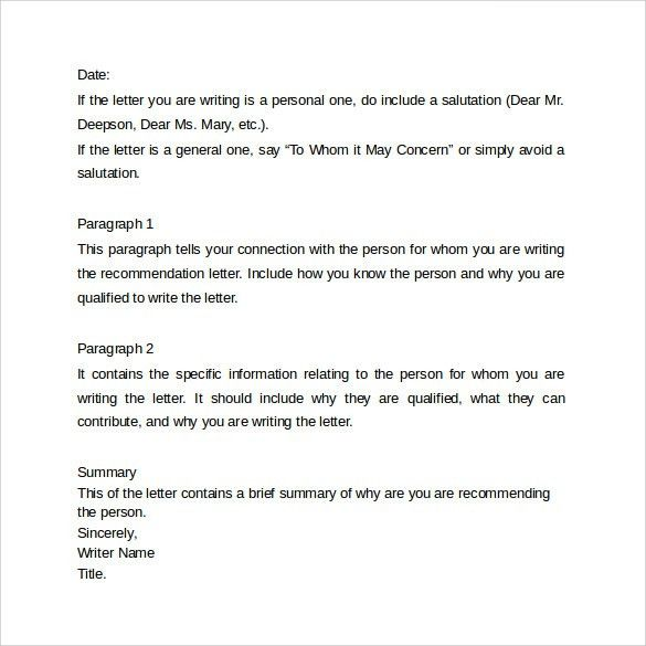Recommendation Letter - 8+ Samples , Examples , Formats