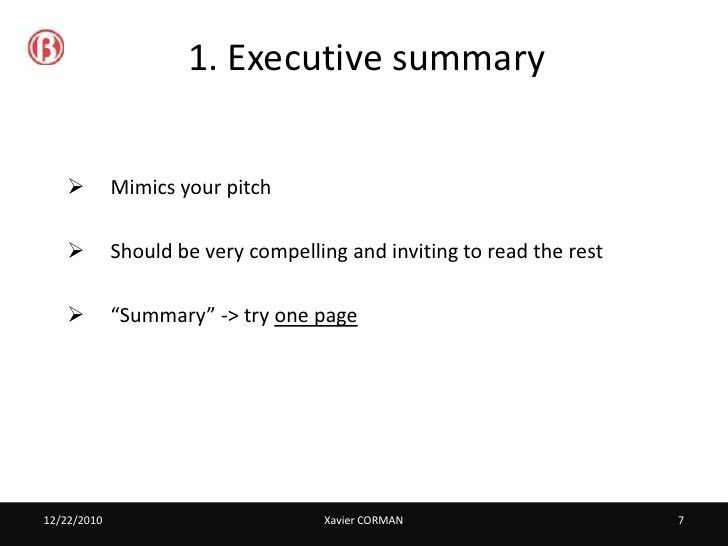 Business plan - best practices