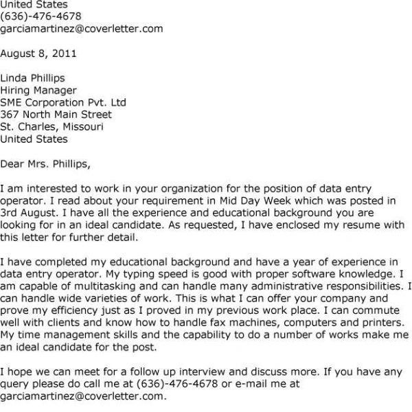 Cover Letters I Will Give An Example For You All Who Seek To Data ...