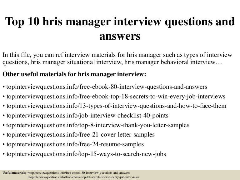 Top 10 hris manager interview questions and answers