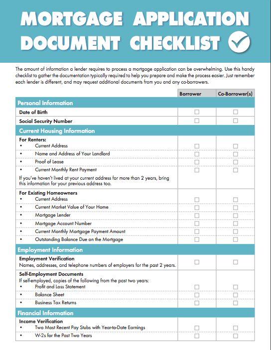 Document Checklist - Achieve The Dream
