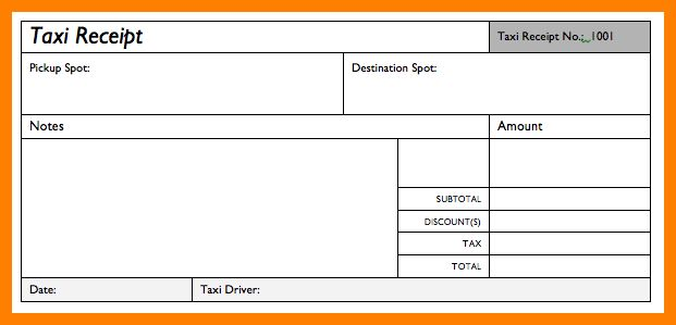 7+ taxi bill format | absence notes