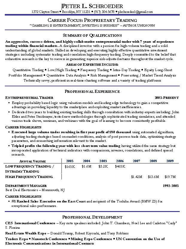 Quantitative Trading Resume Example: Hedge Fund Manager Sample Resumes