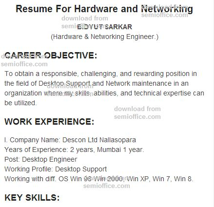 resume format for hardware and networking resume for hardware and