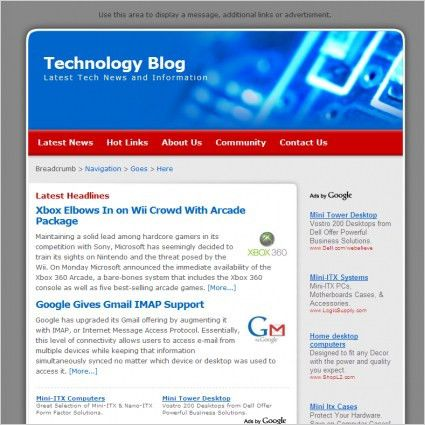 Technology Blog Template Free website templates in css, html, js ...
