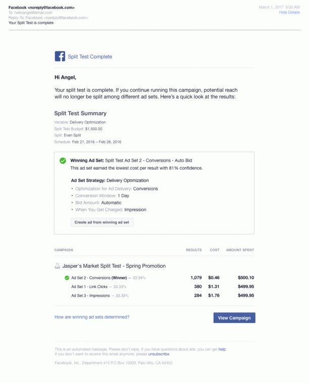 """Facebook Ads : une option de """"Split Testing"""" pour AB tester ..."""