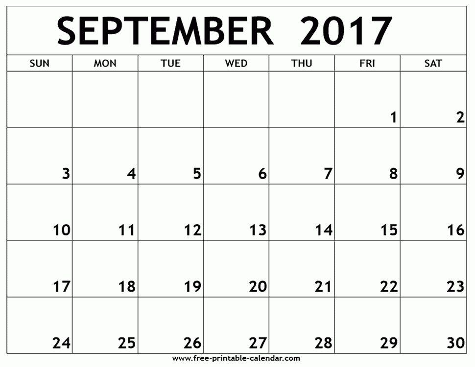 September 2017 calendar template - Free-printable-calendar.com