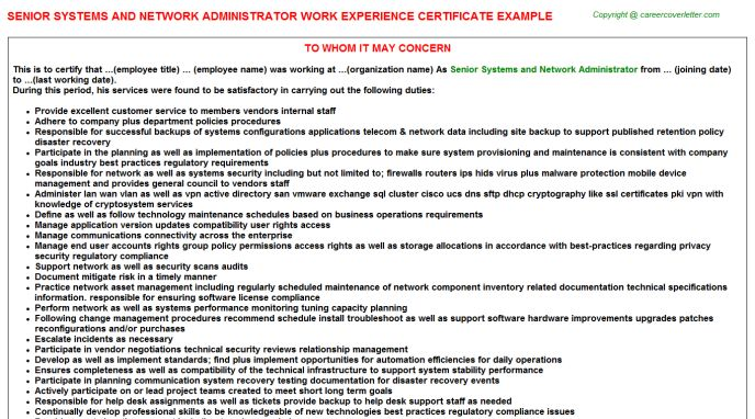 Network Administrator Work Experience Letters