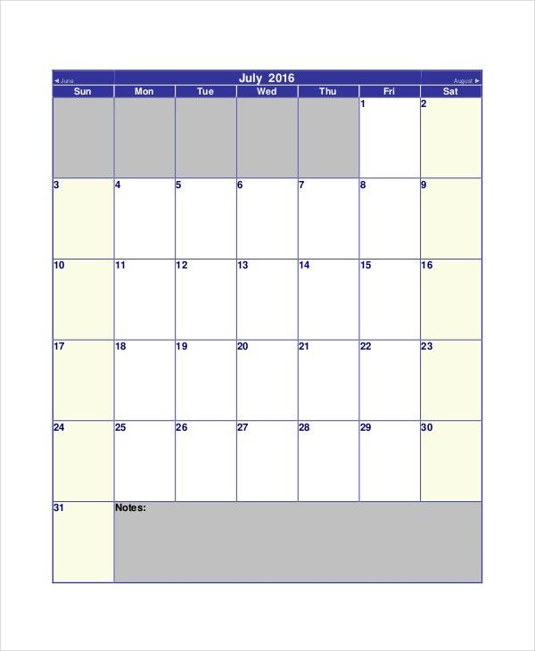 Blank Calendar Template - 11+ Free Word, Excel, PDF Documents ...