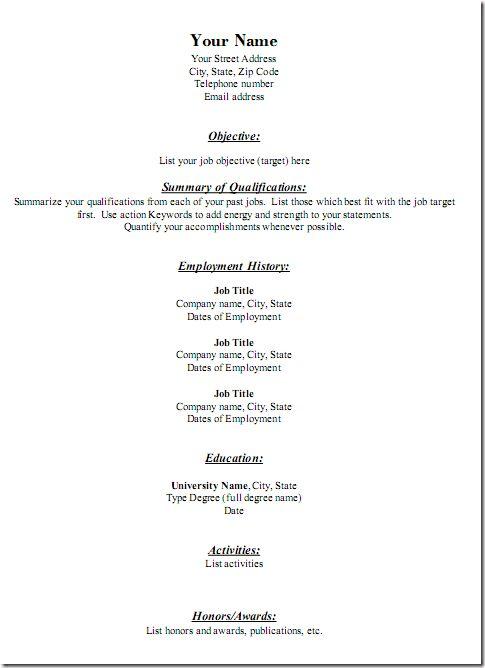 Generic Resume Template | haadyaooverbayresort.com