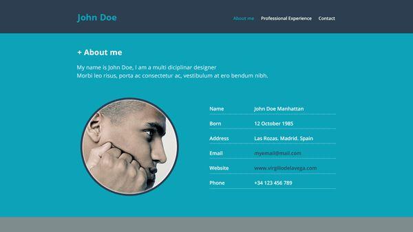 Resume Website Free PSD Template   PSDExplorer