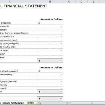 Monthly Personal Financial Statement Template Archives - Excel ...