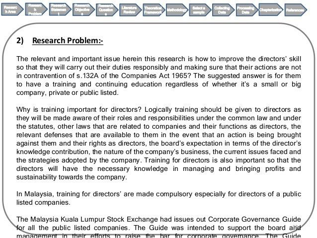 Legal Research Proposal on corporate governance on directors' trainin…