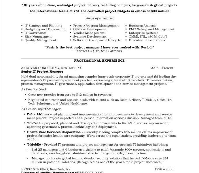 It Project Manager Resume. Senior It Manager Resume Example It ...