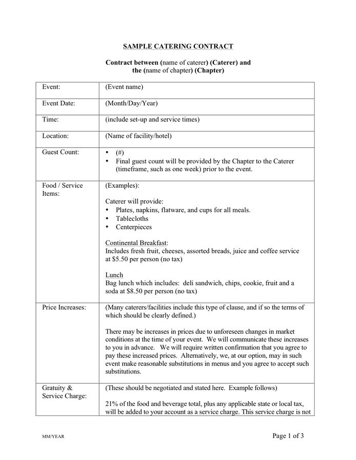 Catering Contract Template - download free documents for PDF, Word ...