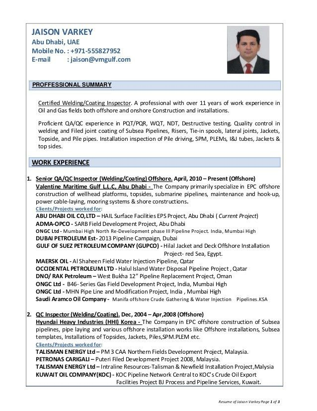 Resume of jaison varkey, QA/QC inspector welding,coating offshore Oi…