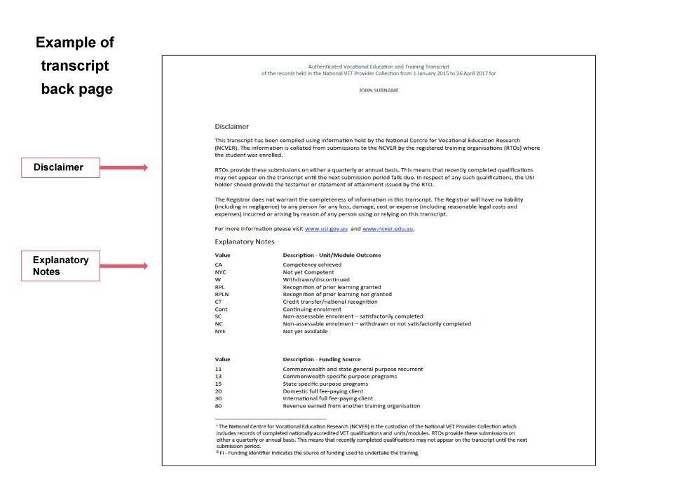 Transcript Example | Unique Student Identifier