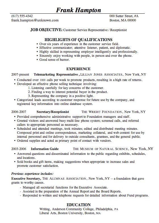 Resume Receptionist 21 Medical Office Receptionist Resume ...