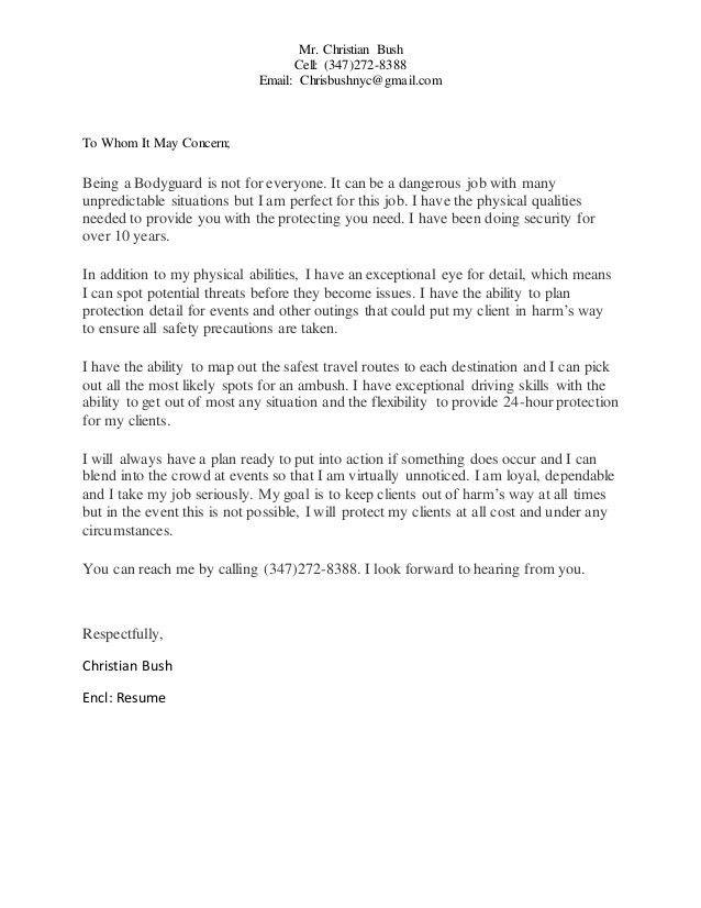 Christian Bush Cover Letter
