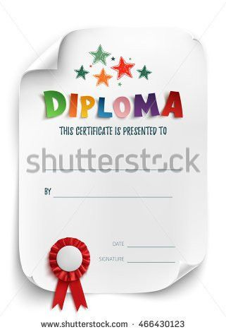 Diploma Template Kids Certificate Background Hand Stock ...