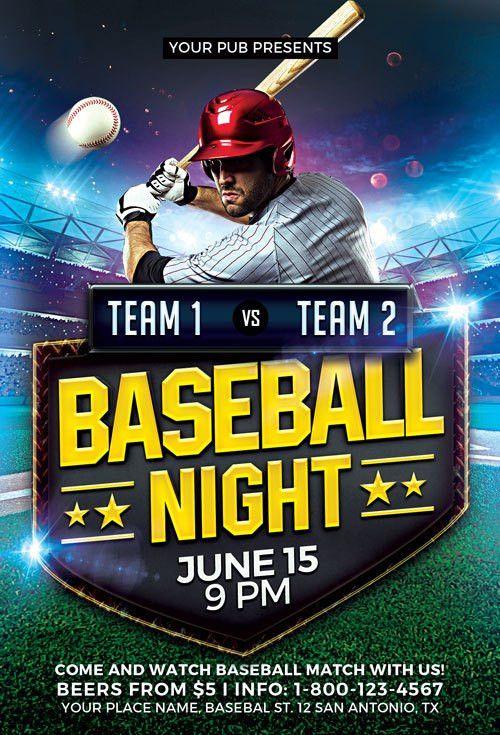 Baseball Match Flyer Template   Awesomeflyer.com