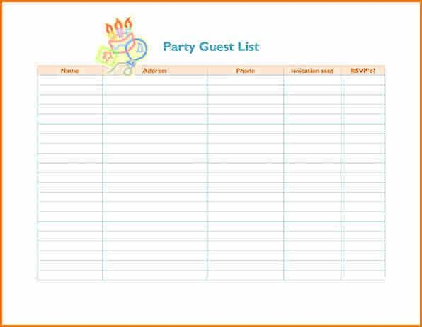 8+ party guest list template | Job Resumes Word