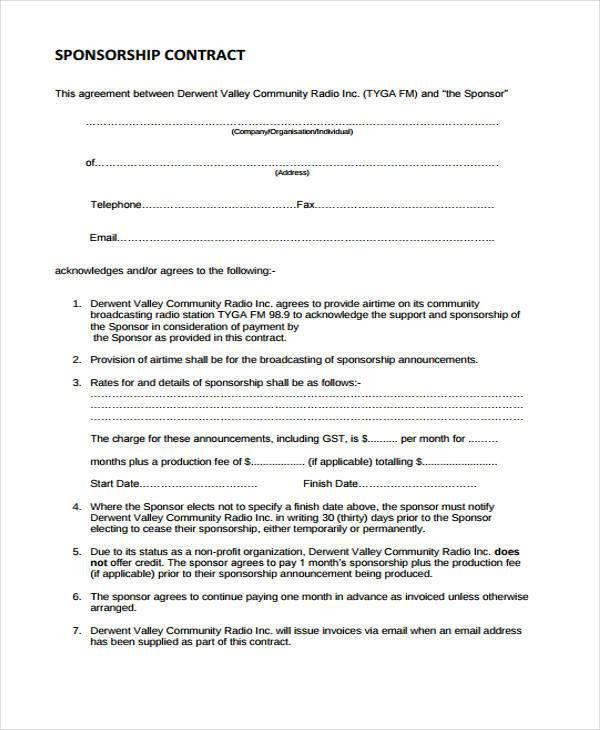 Sample Sponsor Contract Forms - 7+ Free Documents in Word, PDF