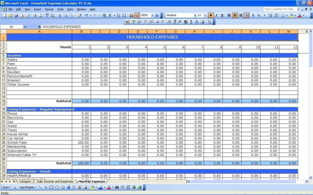 Excel Spreadsheet Template For Expenses | HAISUME