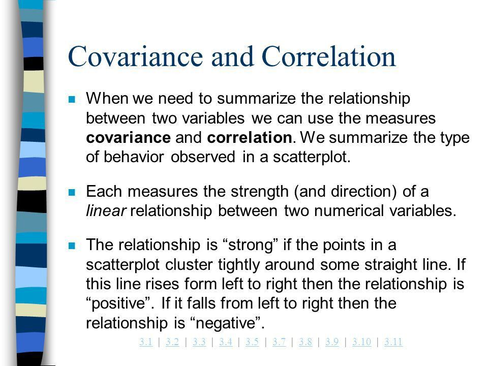 Example 3.6 Measures of Association: Covariance and Correlation ...
