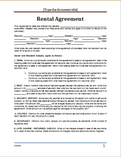 MS Word Rental Agreement Template | Word Document Templates