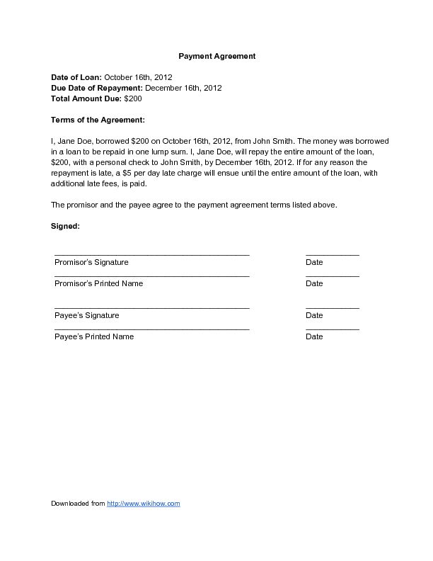 payment agreement pdf. general payment agreement. credit and debt ...