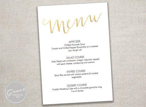 Gold Foil Slant Menu Card / DIY Download Printable Editable ...