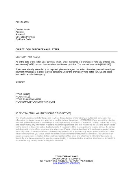 Collection Letter Following Promissory Note - Template & Sample ...
