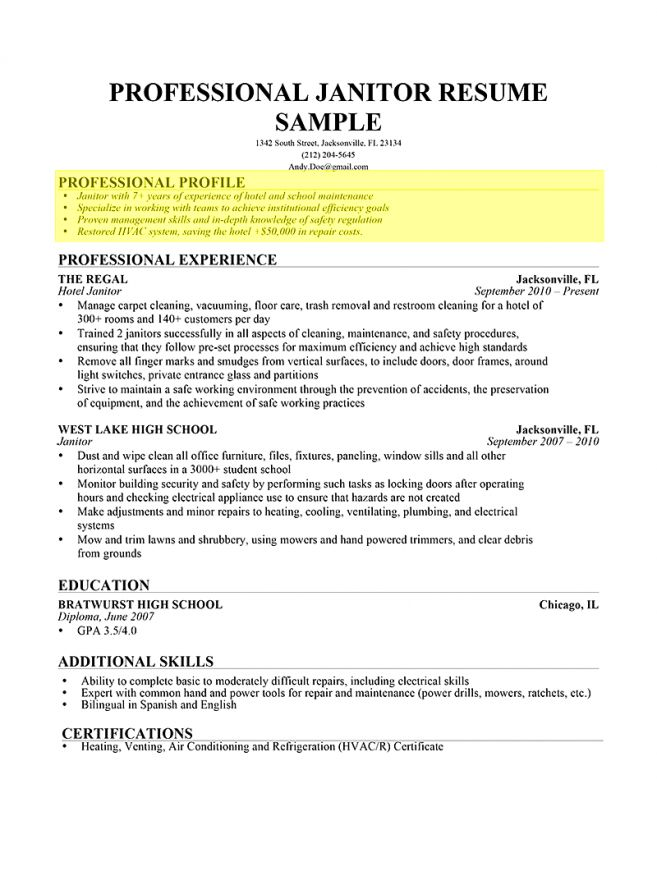 9 Examples Of A Profile For A Resume Resume sample personal ...